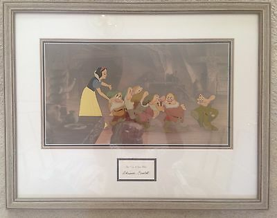 """Snow White Limited Ed Animation Cel """"Off To Bed"""" PP Signed Adrianna Caselotti"""