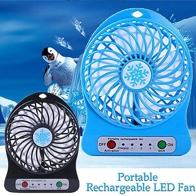 Portable Rechargeable LED Fan air Cooler Mini Operated Desk w/ USB 18650 Battery