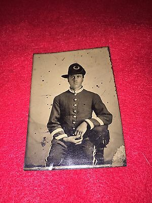 Civil War Union Soldier in Calvary Hardee Hat 1/6th Plate Tintype Photo