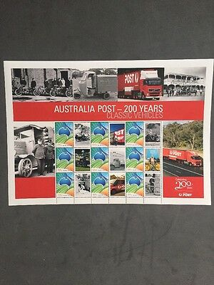 Australia Post - 200 Years Classic Vehicles - Commemorative Large Stamp Sheetlet