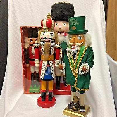 Lot of 4 Christmas Nutcracker Figurines Soldiers King Irish Mayor Parts Only
