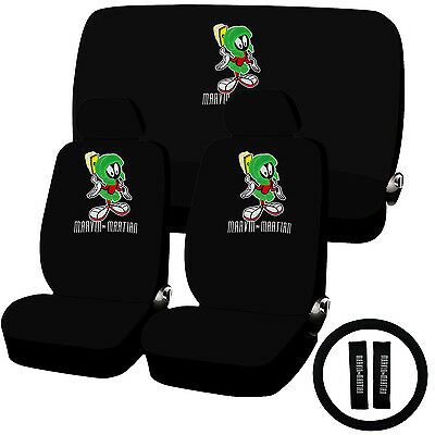 11 Piece Looney Tunes Marvin the Martian Seat Cover Combo Set Universal Fit