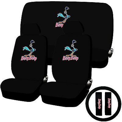 11 Piece Looney Tunes Road Runner Seat Cover Combo Set Universal Fit
