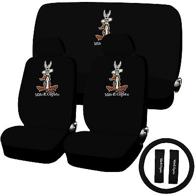 11 Piece Looney Tunes Wile E. Coyote Seat Cover Combo Set Universal Fit