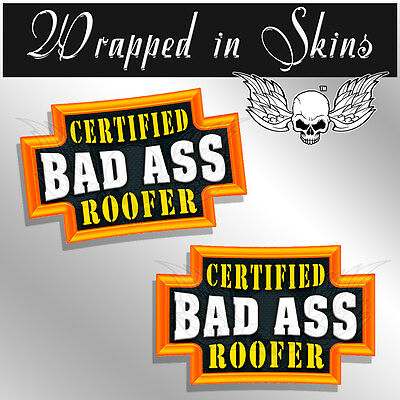2 PACK SNIPER Certified Bad Ass Hard Hat Decals Funny Helmet Stickers