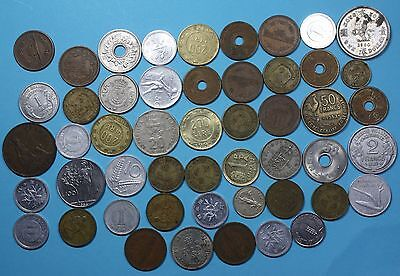 50 World coins....wide variety of Dates and Countries...w/ 1960 Hong Kong dollar