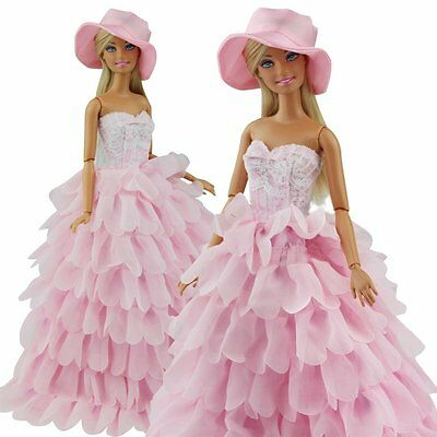 Beautiful Pink Wedding Party Dress Clothes Grows w/ Hat For Barbie Doll Toy Gift