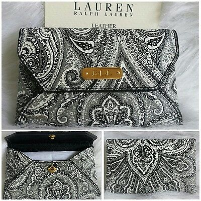 $38 New Ralph Lauren Leather Paisley Business Card Credit Card Holder 4.25×2.75""