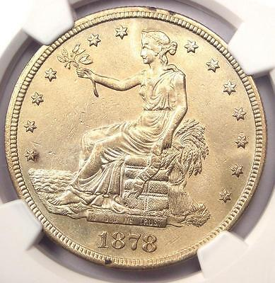 1878-S Trade Silver Dollar T$1 - Certified NGC AU Details - Rare Certified Coin!