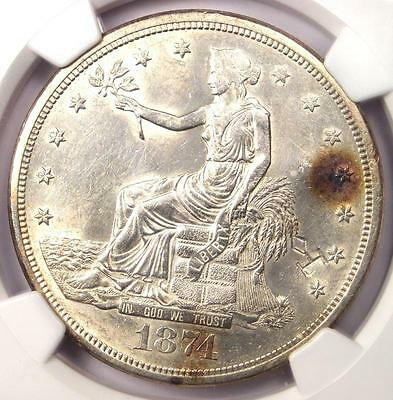 1874-S Trade Silver Dollar T$1 - NGC Uncirculated Details Chop Mark (UNC MS)!