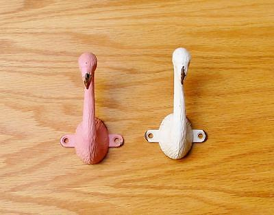 Pair of Cast Iron Flamingo Wall Hooks Pink and Ivory 4 inch Great for Cottage