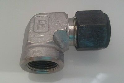 Parker CPI New Stainless Steel Female Elbow Connector 1/2inx3/8FNPT 8-6 DBZ-SS