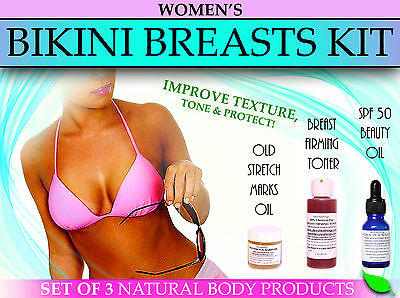 Natural Bikini Breasts Kit for Stretch Marks Sagging Breast Firming SPF 50 Set 3
