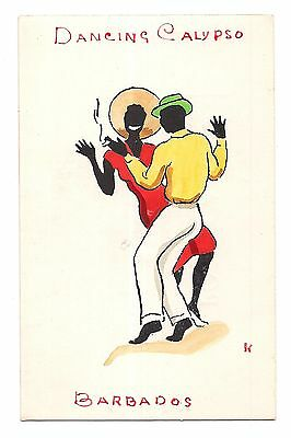 DANCING CALYPSO Black Man Woman NANK DESIGN Hand Painted Art Barbados Postcard
