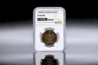1890, British N.Borneo 1 Cent Specimen NGC SP 64 BN High Grade, Scarce Mintage