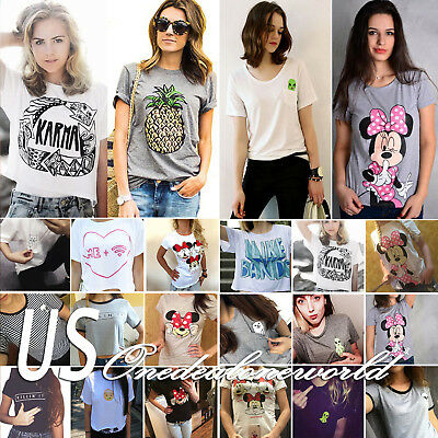 Plus Size Womens Summer T-Shirt Short Sleeve Graphic Ladies Top Tee Shirt Blouse