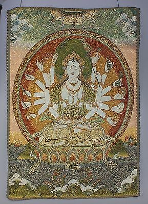 Exquisite Tibet Tibetan Buddhist Silk Inwrought Buddha Thangka