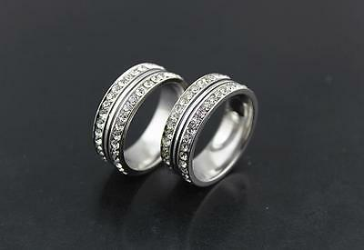 Lots 14pcs Stainless steel 2 row Rhinestone Top Quality Wedding rings L821