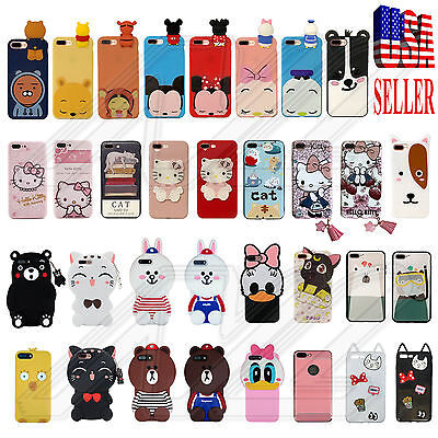3D Cartoon Doll Soft Silicone Rubber TPE iPhone 7/8 & Plus Cell Phone Case Cover
