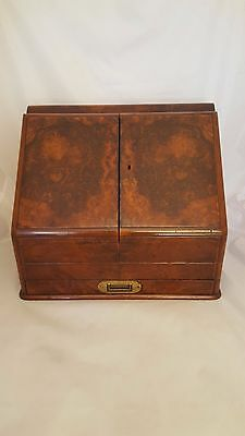 Antique Burl Walnut Stationery Writing Cabinet With Adjustable Calendar