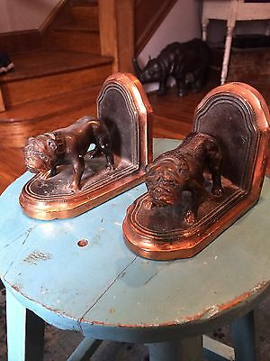 Beautiful Jennings Copper and Leather Bulldog Bookends