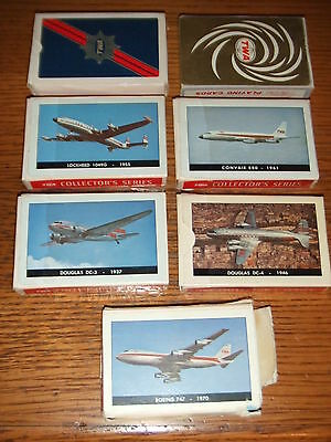 VINTAGE Lot of 7 TWA Airlines Playing Cards Nu Vue Lockheed Convair DC-3 DC-4