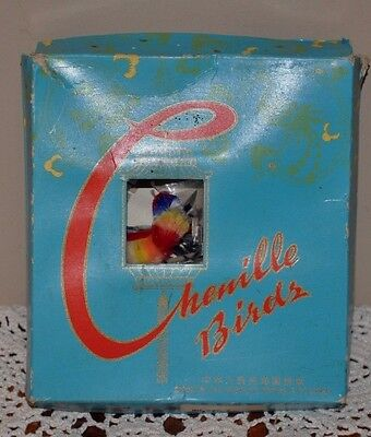VINTAGE  CHENILLE COLORFUL BIRDS BOXED DECORATIONS 1950's