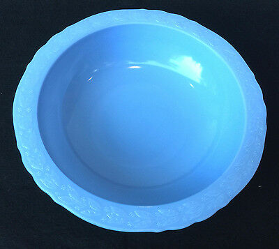 "Htf Vintage Mckee Delphite Blue Milk Glass Laurel 11"" Round Serving Bowl"