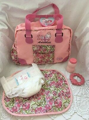 Zapf Creation Germany BABY ANNABELL Doll DIAPER BAG Change Pad Teether Plus
