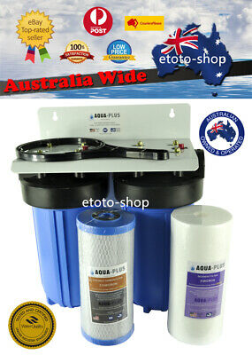 """Whole House Water Filter System Big Blue (2 stages) 10"""" x 4.5"""" Carbon + Sediment"""