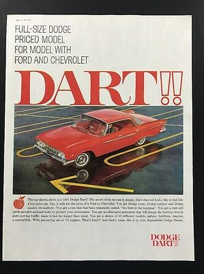 Dodge Dart | 1961 Vintage Print Ad | Large Ad 1960s Car Automobile Style Red