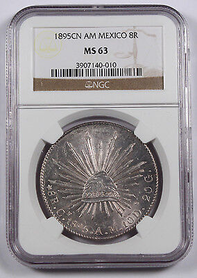 "Mexico 1895 Cn AM ""CAP AND RAYS"" 8 Reales Silver Coin NGC MS63 BU+ Culiacan Mint"