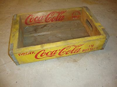 Vintage 1960's Wooden Yellow Coca-Cola Coke Soda Pop Bottle Crate Carrier Box