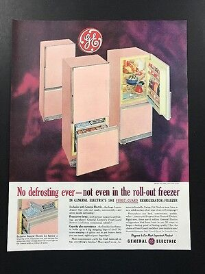 General Electric | 1961 Vintage Print Ad | Large Ad 1960s Home Refrigerator