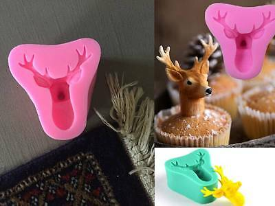 3D Stag Deer Silicone Chocolate Fondant Ice Soap Plaster Mold Mould Party Xmas