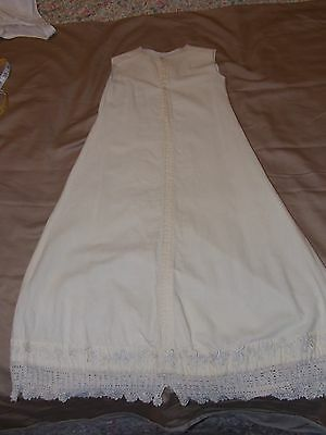 ANTIQUE LONG BAPTISMAL GOWN WOOL UNDERSKIRT slip ALL HANDSTITCHED & EMBROIDERED