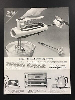 General Electric | 1961 Vintage Print Ad | Large Ad 1960s Kitchen Cooking Tools