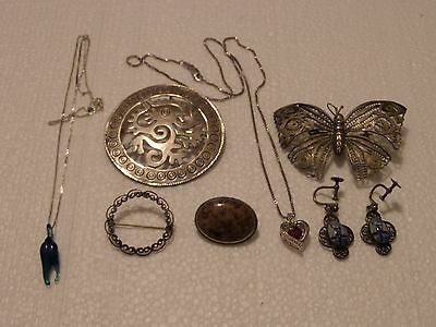 Vintage Sterling Silver Lot Earrings Pendant Brooches Necklaces Taxco Beau&more