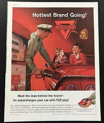 Conoco Royal Gasoline | 1961 Vintage Print Ad | Large Ad  Car Red Convertible