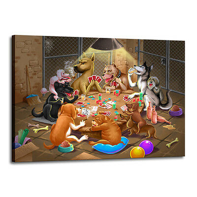 Home Decor Art Quality Canvas Print, Shelter Dogs Playing Poker 24x32