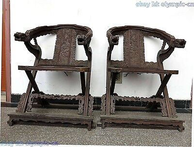 "42"" China old red wood dragon decorative pattern chair with an arched back pair"