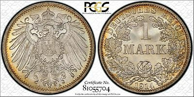 Germany 1914-A 1 Mark, PCGS MS67+, delicate toning, killer eye appeal