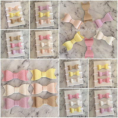 3x Girls Baby Newborn Toddler Headband Nylon Leather Bow Hair Clips Accessory