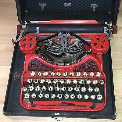 L.C. Smith & Corona Red Typewriter with Case Vintage-Nice Working Condition