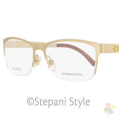 1e8709b98b Gucci Semi-Rimless Eyeglasses GG4236 82O Size  54mm Semi-Matte Gold 4236