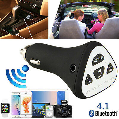 Bluetooth 4.1 Wireless A2DP Car AUX Stereo Audio Receiver FM Adapter USB Charger