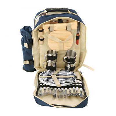 Chanodug 4 Person Picnic Backpack Bag Set Outdoor Lunch Stainless Cutlery Wine