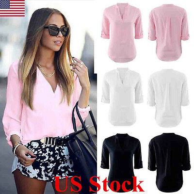 US Women Blouse Short Sleeve Ladies T Shirt Summer Casual Loose V Neck Tops New
