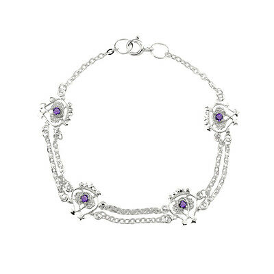 Scottish Luckenbooth Silver Bracelet With Amethyst Colour Stones 0670
