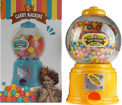 Yellow 27cm Gumball Dispenser Retro Style Machine - Jelly Beans / Bubble Gum